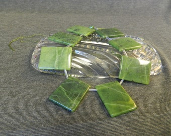 Great Strand of Large Natural Green Copper Chalcedony/ Jasper Rectangle Stone Beads - 10 Per Strand