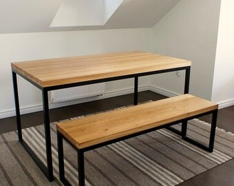 """Table and bench, """"Industrial Black Oak"""""""