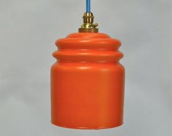 Small vintage handmade Italian orange glass pendant light hanging lamp G3