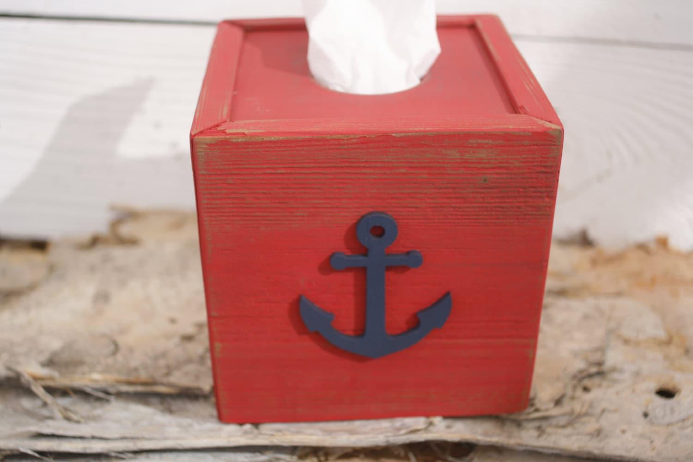 Anchor tissue kleenex box cover nautical beach ocean bathroom - Beach themed tissue box cover ...