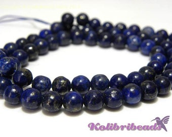 15x Round Lapislazuli Real Gemstone Beads 6mm