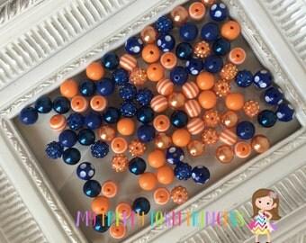 """12mm  """"Royal Blue & Orange""""  {100 count}  Chunky Bubble Gum Bead Wholesale Bulk Bead Lot  *Read Entire Description"""