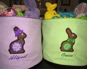Easter Buckets, Cloth, Personalized Embroidery and Applique Chocolate Bunny Design
