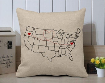 Long Distance Relationship Pillow Case - US Map Pillow Cover - Long Distance Boyfriend Gift - Long Distance Gift - Personalized Gift -Burlap