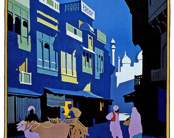 Visit India: A Street by Moonlight. Vintage Travel Print/Poster