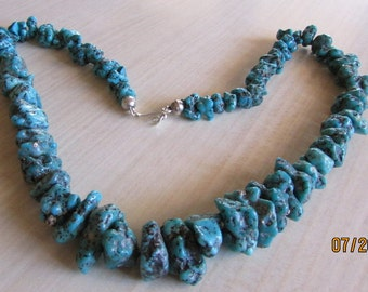 """Bold and Chunky Turqucise 23 1/2"""" Nugget Necklace"""
