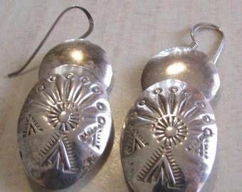 Oval Sterling Silver Bead Dangle Wire Earrings