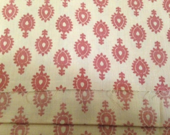 Organic Cotton, Bolt End, Last Piece, Boho fabric, Tribal print, Yellow Print Fabric, Orange Print Fabric, Indian Organic Fabric, 1 Yard,