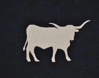 Longhorn Wood Cutout, Laser Cut, DIY Unfinished, No Sanding Needed, for Texans, TSIP, Crafters, Paint Your Own by Liahona Laser on Etsy