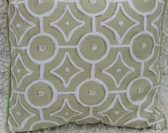 Pale Lime green and white geometric, green piped cushion cover throw pillow