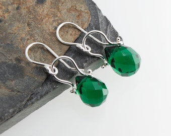 Dangle Green Quartz stone Earrings, Green Earrings, Quartz Stone, Handmade Earrings, Sterling Silver Earrings, Gift jewelry, Gift