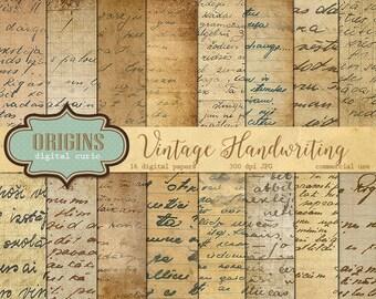 Vintage Handwriting Digital Paper, Old Letters, Old Handwriting, Antique Script Paper Ephemera, Correspondence, Handwritten Instant Download
