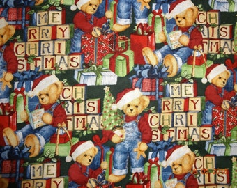 """7/8 Yard of Bears N Blocks by Springs Creative Products Cotton Fabric - 44"""" wide"""