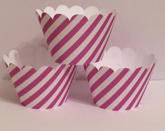 Purple Maroon white Stripe Cupcake Wrappers, Party decorations, cupcake holders, party supplies, cupcake wraps, cupcake sleeves, paper goods