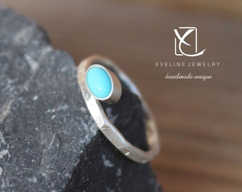 Turquoise Fine silver ring 925 hammered