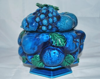 Inarco Cookie Jar Blue Mood , Blue Fruits and Green Foliage Japan Inarco