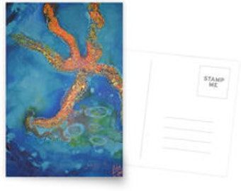 greeting card postcard art print starfish