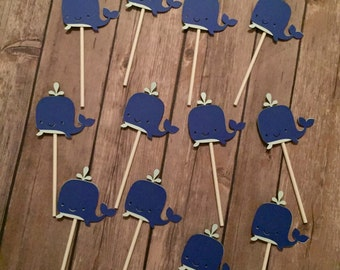 Customizable Whale Cupcake Toppers, set of 12 or 24