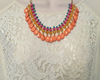 Coral Fuchsia Pink Teal Chandelier Teardrop Beaded Bubble Bib Statement Necklace