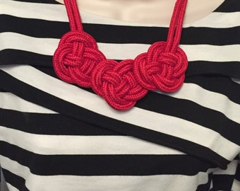 Sailor Red Nautical Rope Knot Statement Knotted Bib Necklace