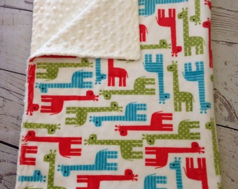 Personalized Baby Blanket Minky,Handmade Giraffe Baby Blanket,Red, Blue Green Blanket,Minky Baby blanket,Giraffe Fabric,Baby Gift, Baby