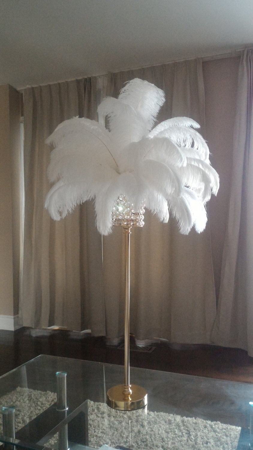 28 Tall Gold Crystal Globe Stand Ostrich Feather