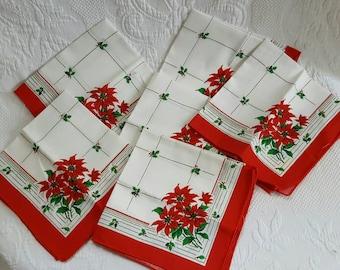 Vintage Christmas Table NAPKINS, set of 6