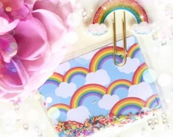 Sparkle Rainbow Paperclip & Confetti Shaker Card...