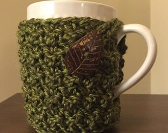 Green Leaf Cozy Mug Sweater | Coffee | Tea | Cocoa | Cider