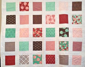 Modern patchwork baby quilt, handmade with woodland theme fabrics. New baby gift, baby shower present, buggy cover, tummy time mat