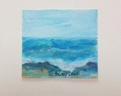Sunny Beach Snippet, tiny bit of original art by Shirley Lowe, 3 x 3 inches, art gift, hostess gift, happy gift, dog celebration of life