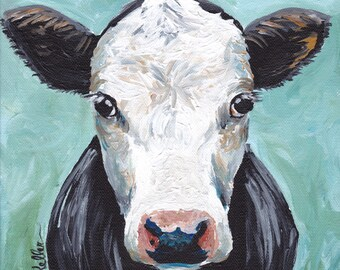 Cow art print, cow decor from original canvas cow painting.