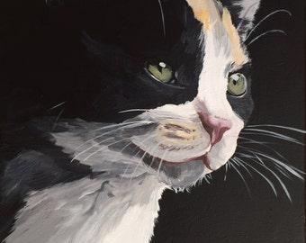 Calico Cat Art Print, calico cat art, kitten art, calico cat prints, cat art prints. cute cat art