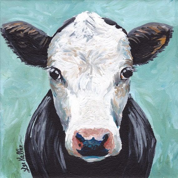 Cow Art Print Cow Decor From Original Canvas Cow Painting