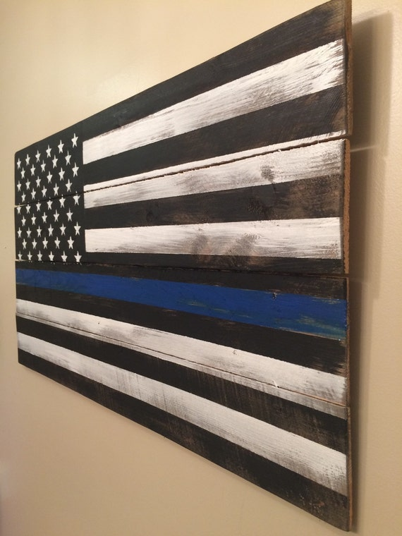 Thin Blue Line Pallet Flag Rustic Reclaimed Wood By