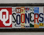 License Plate Art OU Sooners Oklahoma College Football Sign Routed Edges Handmade Gift Unique One of a kind For Anyone