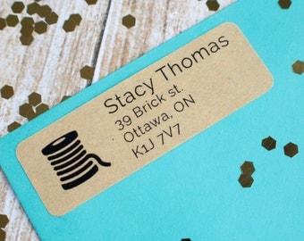 Sewing spool return address label custom sticker brown kraft