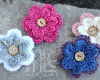 Crocheted Flower with Wooden Button, Large Flower Hairclip, Double Layer Crochet Flower, Flower Barrette, Flower Knit, Girls 2 Layer Flower