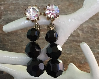 Black Vendome Earrings Black Dangle Earrings Vendome Jewelry Designer Earrings  Wedding Earrings