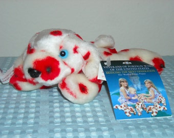 SALE!Buddy The Poppy Puppy/Beanbag Plush/Special Veterans Of Foreign Wars Charity Donation/ Real Looking Poppy/Darling Red and White Puppy!