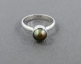On Sale Green Gray Pearl Gemstone Ring- 925 Sterling Silver Ring- Bezel Set Artisan Handmade Solitaire Ring -Pearl Jewelry- Birthstone Gift