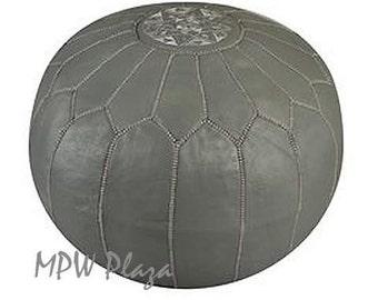 Sale- Dark Grey Moroccan Leather Pouf / Ottoman