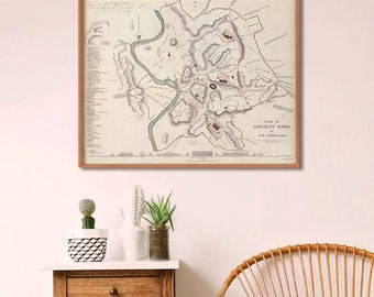 "Map of Ancient Rome 1830, Ancient Rome map in blue or sepia, 3 sizes up to 30x24"" (75x60 cm) Roman Empire Rome - Limited Edition - Print 12"
