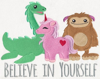 Believe in Yourself embroidered floursack tea / dish towel