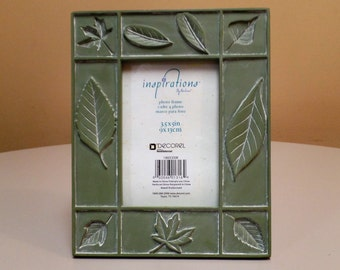 Resin Sage Green Distressed Shabby Style Newell Rubbermaid Inspiration 7 X 6 inch Frame By Heirloom 3.5 X 5 inch photo frame