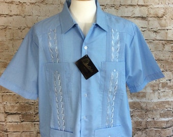 Vintage Shirt Short Sleeve Top Embroidered Holiday Caribbean By Juan Carlos Blue Salsa Dancing Festival Holiday Chic XL New Unused c 1970s