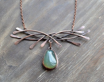 Lines, copper necklace, green