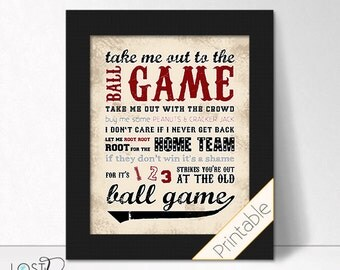 Vintage Baseball Theme Take me out to the Ball Game ballgame red black distressed weathered Teen Boy bedroom Decor instant digital download