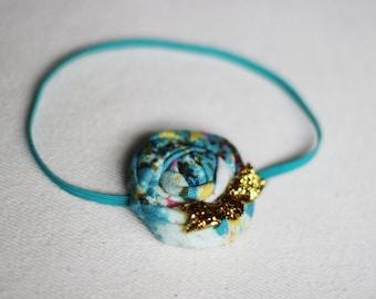 Teal Gold Blue Newborn Baby Headband,Toddler Bow,Rolled Flower,Tween,Teen,Boutique Headband,Baby Shower Girl,Bow,Gold,Rosette Flower