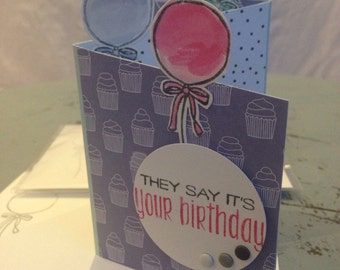 They Say Its Your Birthday tri-fold card and envelope  with balloons